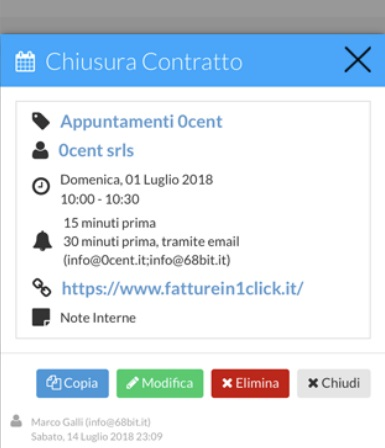 Evento agenda di fatturein1click.it